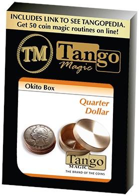Metal Okito Coin Box Quarter sized Coin Through Solid Metal Magic Trick